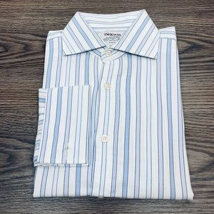 T.M. Lewin White Stripe French Cuff Shirt 16-35